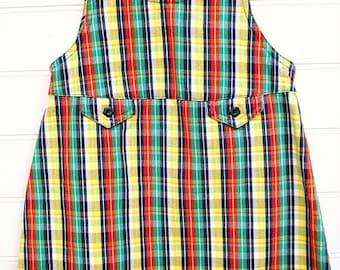 Vintage toddler clothes, Toddler Girl Jumper, Vintage Gymboree, Primary Colors in Plaid.
