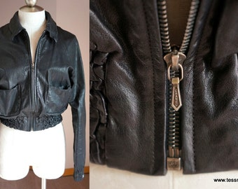 Rare Chanel Black Motorcycle Leather Crop Jacket Sample Presse 38 4 6