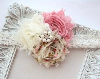 Vintage Flower Lace Headband with Pearl & Rhinestone Center - Shabby Flower Headband - Dusty Rose and Ivory - Baby Girl - Newborn Headband