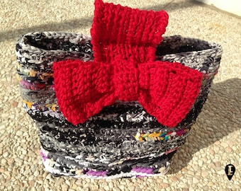 Recycled fabric crocheted case with cotton bow