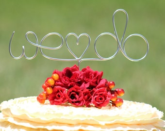 "Silver Wire ""WE DO"" Wedding Cake Toppers - Decoration - Beach wedding - Bridal Shower - Bride and Groom - Rustic Country Chic Wedding"