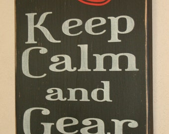 Firefighter Wall Art, Firefighter Decor, Distressed Wall Decor, Custom Wood Sign, Firefighter - Keep Calm And Gear Up