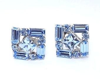 Gorgeous Sapphire Ice Blue Square Rhinestone Earrings - Sapphire Blue Earrings - Aquamarine Blue Earrings - Vintage Blue Earrings - 1960s