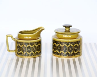 Olive Goodness - Vintage Retro Olive Green Sugar and Creamer Set