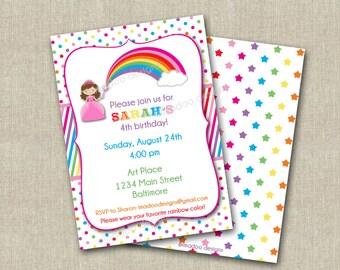 Rainbow Princess Invitation - Printable - Custom & Personalized