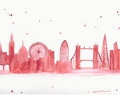 SALE London illustration art original watercolour painting London art England gift for her, London abstract