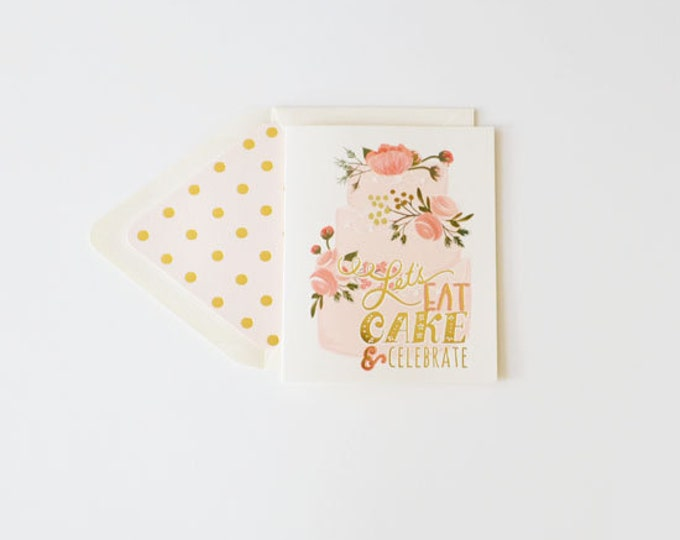 Let's Eat Cake & Celebrate!  {Boxed Set of 8 Greeting Cards w/Pink Accents}