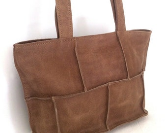 ON SALE.One of a kind, Brown leather tote Bag, Women leather bag, Shoulder bag, Everyday/ Weekend, Medium size, light brown, A gift for her.