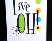 "Handmade ""Five OH!"" 50th birthday card"
