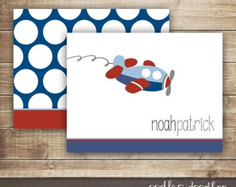 Personalized Airplane Stationery / Boy's Personalized Note Cards / Customized Thank You Notes / Children's Stationery, Printable