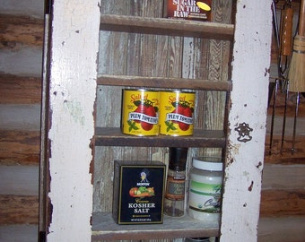Vintage Style Spice Cupboard, Curio, Liquor, Bathroom Cabinet, from Reclaimed Salvaged Vintage Materials