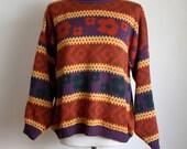 80s/90s Striped Sweater / Flower Print / 80s Oversized Sweater / Winter Jumper