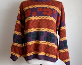 80s/90s Floral Print Sweater / Oversized Sweater / Autumn Winter Jumper / Women's Sweater