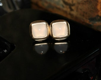 Vintage Anson Cufflinks White Opalescent Moonstone Gold 40s 50s Cuff Links