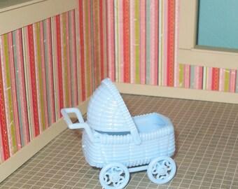 SALE 5.00 Dollhouse miniature light blue plastic baby carriage
