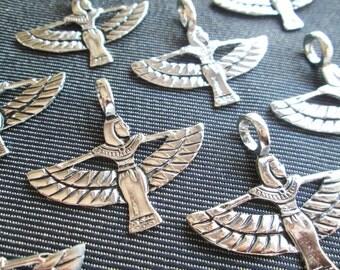 4 pcs of ISIS Egyptian Goddess Metal Charms Silver CT-0231