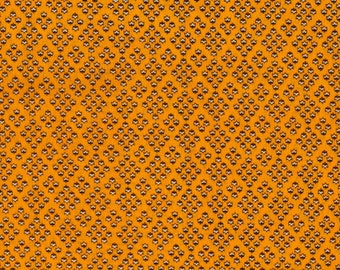 Sewing and Quilting Fabric New By The Yard 100% Cotton by Haberdasher Brown and White Print on Light Orange Background