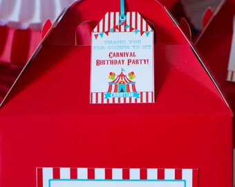 Carnival Birthday Favor Tags/Circus Birthday Favor Tags/Circus Theme Birthday/Carnival Theme Birthday Party/Favor Tag/Printable/Personalized