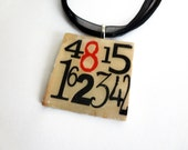 Lost TV necklace - Altered Art Photo Transfer Pendant Necklace, Lost Pendant, jewelry, TV, numbers, 4815162342, red, white, black,Jack, Kate