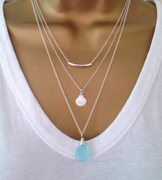 3 Silver Layering Necklaces Uk Shop Birthday Gift Mothers