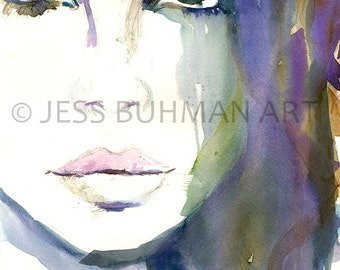 "Fashion Illustration, ""Lana"" by Jess Buhman, Watercolor Portrait, Print for Her, Watercolor Painting, Print of Painting,  Portrait of Woman"