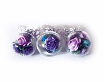 flower ring, glass dome ring, snowglobe ring, magical ring, bohemian ring, boho flower ring, bridesmaids gift, stocking stuffers, OOAK