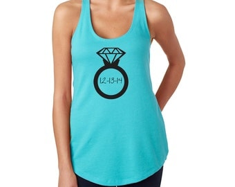 Giant Ring With Wedding Date -Sweating For the Wedding Tank - Work Out Shirt- Exercise Clothes - Bride Gift - Bridal Shower