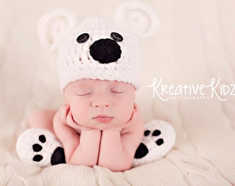 Baby Boy Hat POLAR BEAR Newborn Baby Boy or Girl Crochet Bear Hat and Paws Booties Scarf Hat Slippers Great for Christmas