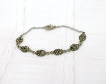 Victorian Inspired Flower Bracelet - Antique Bronze