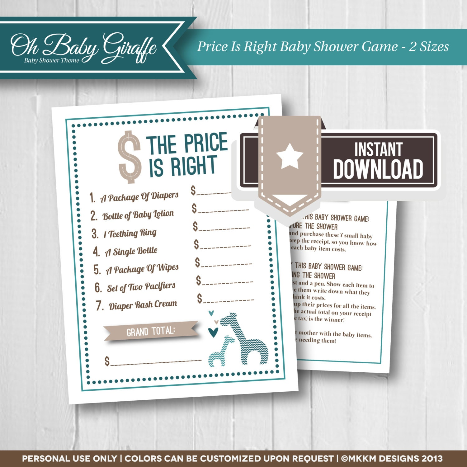 the price is right baby shower game oh baby by mkkmdesigns