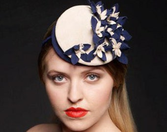 Double Crowned Suede Floral vintage-inspired Headpiece / Fascinator in Blue and Natural.