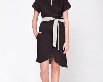 Japanese kimono dress black dress