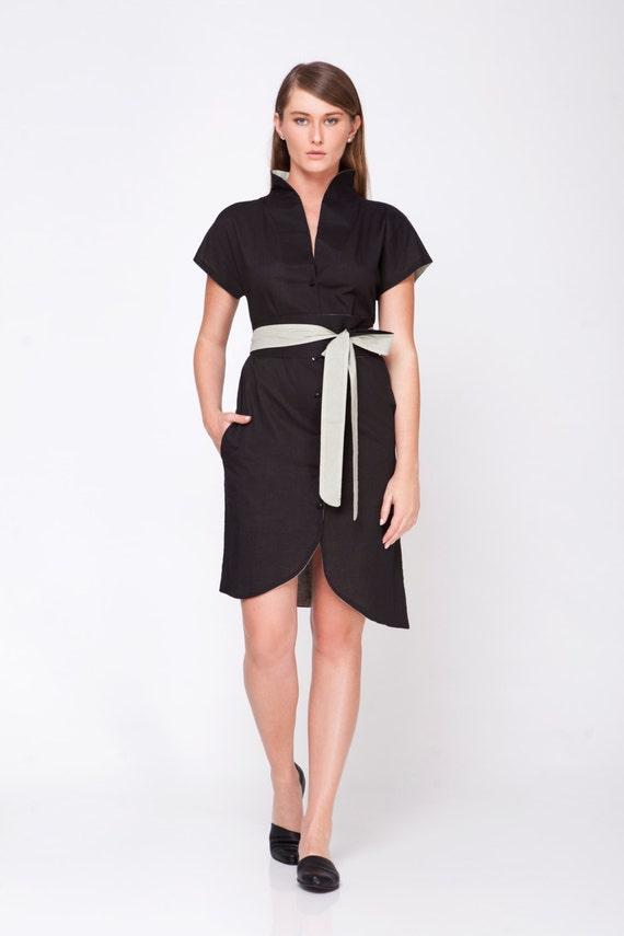 Japanese Fashion Black Kimono Dress Collar Dress by ...