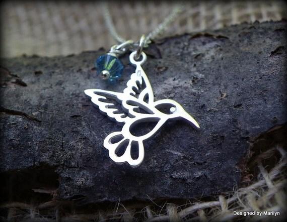 Sterling silver hummingbird necklace, medium size hummingbird, birthstone necklace, bird jewelry