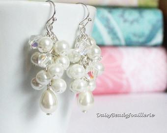 Ivory Long Pearl Earrings Bridesmaid Earrings Teardrop Pearl Cluster Earrings Ivory Earrings Bridal Earrings Maid of Honor Chunky Earrings