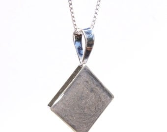Diamond Cremation Pendant, 16mm - Sterling Silver Pet Ashes Jewelry