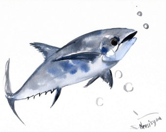 Tuna Fish, Original watercolor painting, 9 X 12 in, seafood kitchen wall art, restaurant painting, fish art sea animals