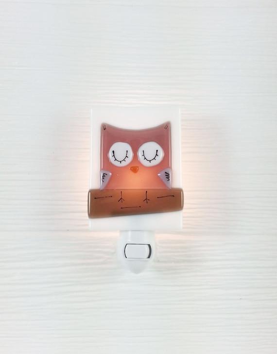Nightlight Owl Fused Glass Pink Baby Glass Night Light
