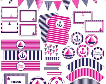 Pink Nautical Birthday Party - 11 Printable PDF Files - Instant Download