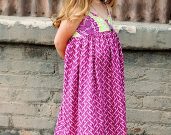 Girl Maxi Dress- Modern Kids Clothing- Custom Girl Maxi Dress- Maxi- Boutique Maxi- Custom Maxi Dress- Size 6 year to 8 year- The Dottedduck