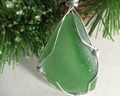 Sea Glass Christmas Ornament Wire- Wrapped Pendant, Genuine Emerald Green Sea Glass