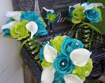 17 Piece Malibu Blue Lime Green White Wedding Bouquet Set, Calla Lily Rose Bouquet, Real Touch Malibu Blue Bouquet Blue Green Bouquet