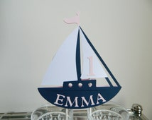Sailboat Cake Topper, Nautical CakeTopper, Sailboat Party, Nautical Party