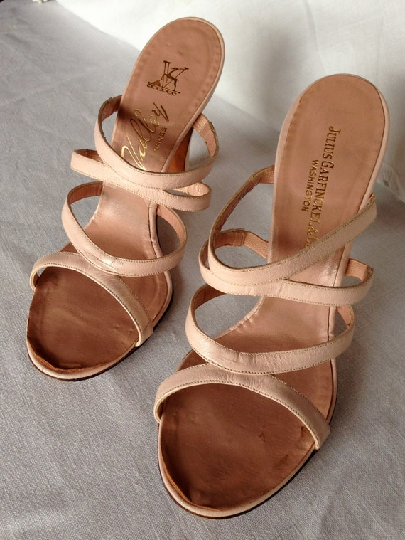 vintage pink strappy sandal high heel shoes by