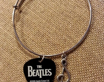 Meet the Beatles Guitar Pick Bangle with Charm - John Lennon Bracelet - George Harrison Bracelet - Paul McCartney - Ringo Starr Bracelet