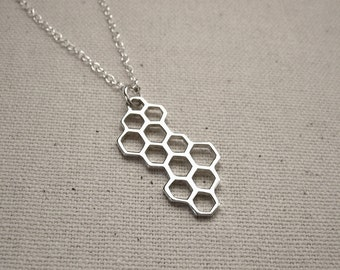 Sterling Silver Honeycomb Necklace  - Geometric Hexagon Jewelry
