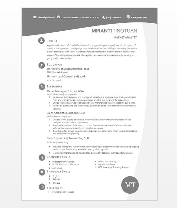 modern microsoft word resume template miranti by inkpower