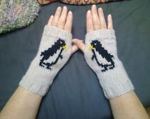 Wrist warmers -  penguins - fingerless gloves - mittens