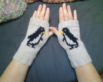 Wrist warmers -  penguins - fingerless gloves - mittens