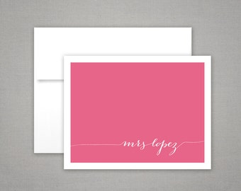 Stationery Set  |  Personalized Teacher Gift | Folded Notecards | MODERN CALLIGRAPHY | Colorful Printed Personalized Stationery